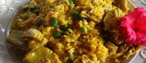 arroz con guisantes y sepia
